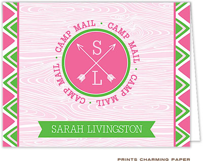 Prints Charming Note Cards/Stationery - Pink Arrow Seal Camp Mail (Folded)
