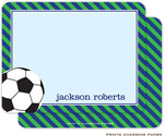 Prints Charming Note Cards/Stationery - Green Stripe Soccer (Flat)