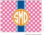 Prints Charming Note Cards/Stationery - Pink Gingham Monogram (Folded)