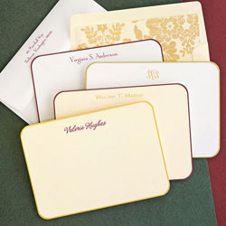 Rytex Stationery - Rounded Hand Bordered Cards (Wine or Gold)