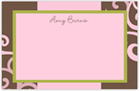 Take Note Designs - Stationery/Thank You Notes (Pink Scroll on Brown Note 2)