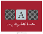 Take Note Designs - Stationery/Thank You Notes (Dark Grey Cube Initial on Red Graduation)