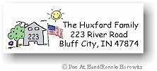 Pen At Hand Stick Figures - Address Label #5 (Color)