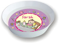 Pen At Hand Stick Figures - Melamine Bowls (Baby Girl)