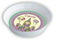 Pen At Hand Stick Figures - Melamine Bowls (Bday Girl 1)