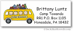 Pen At Hand Stick Figures - Address Label (Camp Bus)