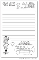 Pen At Hand Stick Figures - Large Single Color Camp Note Pad (Camp Bus)