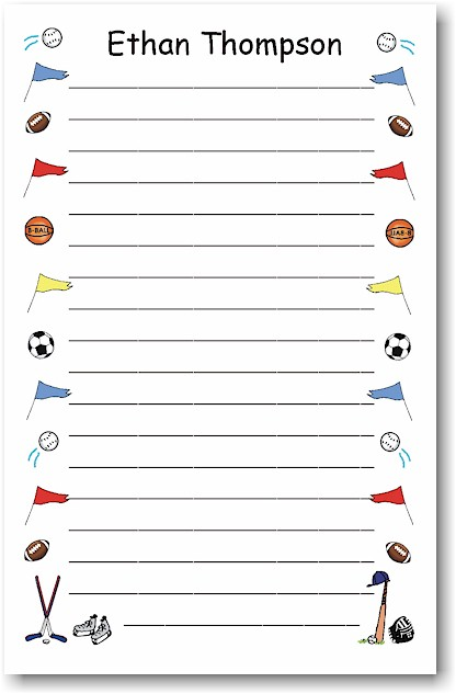 Pen At Hand Stick Figures - Large Full Color Pads (Color Sports Border)