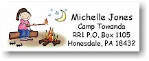 Pen At Hand Stick Figures - Address Label (Campfire Girl - Full Color)
