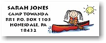 Pen At Hand Stick Figures - Address Label (Canoe Girl - Full Color)