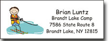 Pen At Hand Stick Figures - Address Label (Waterskier Boy - Full Color)