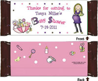 Pen At Hand Stick Figure Candy Wrappers - Baby Shower (Girl)