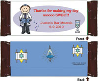 Pen At Hand Stick Figure Candy Wrappers - Bar Mitzvah (Boy)