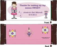 Pen At Hand Stick Figure Candy Wrappers - Bar Mitzvah (Girl)