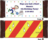 Pen At Hand Stick Figure Candy Wrappers - Bowling (Boy)