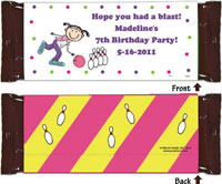 Pen At Hand Stick Figure Candy Wrappers - Bowling (Girl)