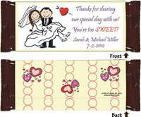 Pen At Hand Stick Figure Candy Wrappers - Bride & Groom