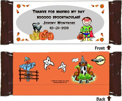 Pen At Hand Stick Figure Candy Wrappers - Halloween (Boy)