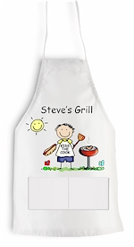 Pen At Hand Stick Figures - Apron (BBQ)