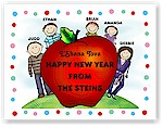 Pen At Hand Stick Figures - Jewish New Year Card - JNY30FC