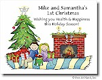 Pen At Hand Stick Figures - Full Color Holiday Cards - Xmas-Couple
