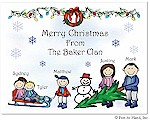 Pen At Hand Stick Figures - Full Color Holiday Cards - Xmas10