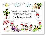 Pen At Hand Stick Figures - Full Color Holiday Cards - Xmas Tropical Land