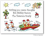 Pen At Hand Stick Figures - Full Color Holiday Cards - Xmas Tropical Water
