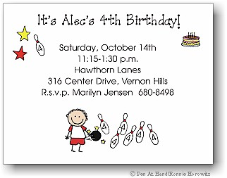 Pen At Hand Stick Figures - Invitations - Bowling