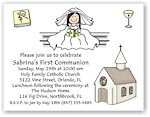 Pen At Hand Stick Figures - Invitations - Communion 3 (Girl)