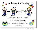 Pen At Hand Stick Figures - Invitations - Laser Tag