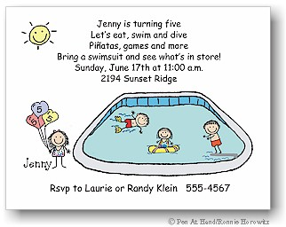 Pen At Hand Stick Figures - Invitations - Pool Party