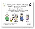Pen At Hand Stick Figures - Invitations - Seventies