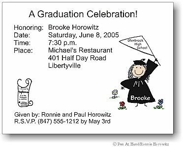 Pen At Hand Stick Figures - Invitations - Graduation (color)
