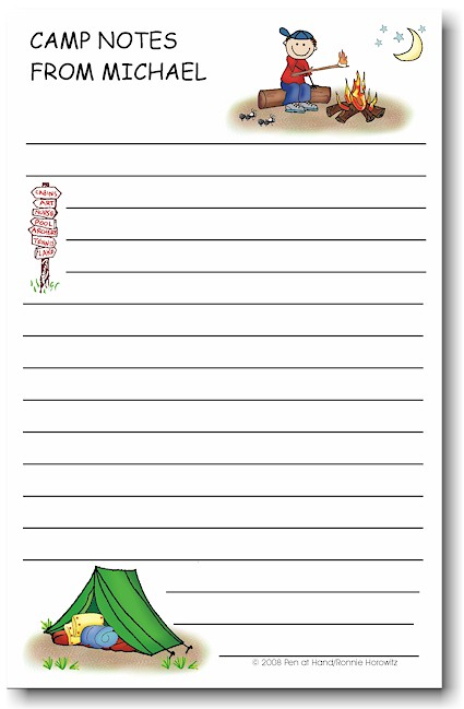 Pen At Hand Stick Figures - Large Full Color Notepads (Campfire Boy)