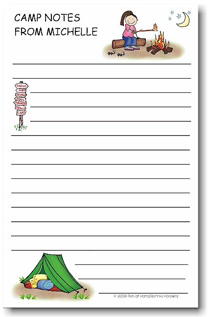 Pen At Hand Stick Figures - Large Full Color Notepads (Campfire Girl)