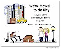 Pen At Hand Stick Figures - Moving Card - City (color)