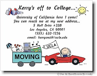 Pen At Hand Stick Figures - Moving Card (College - color)