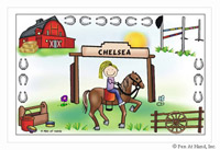 Pen At Hand Stick Figures - Laminated Placemats (Horseback)