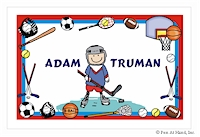 Pen At Hand Stick Figures - Laminated Placemats (Sports Border)