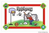 Pen At Hand Stick Figures - Laminated Placemats (Sports Boy)