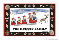 Pen At Hand Stick Figures - Laminated Placemats (Xmas Sleigh)