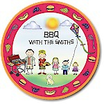 Pen At Hand Stick Figures - Melamine Plates (BBQ)