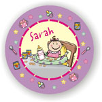 Pen At Hand Stick Figures - Melamine Plates (Baby Girl)
