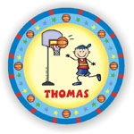Pen At Hand Stick Figures - Melamine Plates (Basketball)