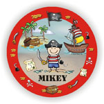 Pen At Hand Stick Figures - Melamine Plates (Pirate)