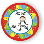 Pen At Hand Stick Figures - Melamine Plates  (Create-Your-Own Plate with Star Border)
