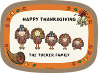 Pen At Hand Stick Figures - Melamine Platters (Thanksgiving)