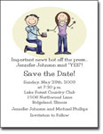 Pen At Hand Stick Figures - Save The Date Cards (Wedding Ring)