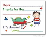 Pen At Hand Stick Figures Stationery - Dino (Fill-In Thank You Notes)